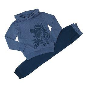 Комплект для мальчика (толстовка, брюки), рост 98-104 см, цвет синий меланж 184-М