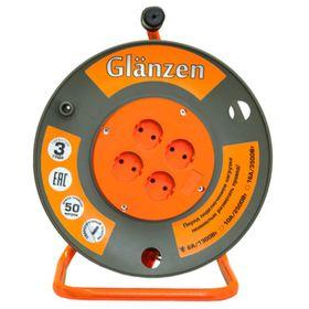 Удлинитель на катушке Glanzen, 4 розетки, 50 м, IP20, ПВС 2х1,5 EB-50-006