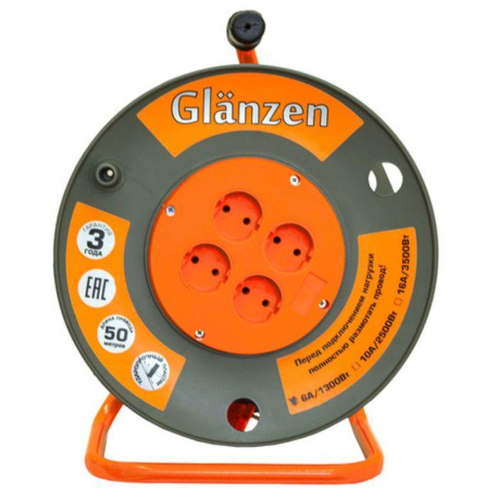 Удлинитель на катушке Glanzen, 4 розетки, 50 м, IP20, ПВС 2х2,5 EB-50-008