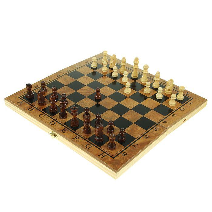 """Настольная игра 3 в 1 """"Цейтнот"""": шахматы, шашки, нарды, доска дерево 35х35 см"""