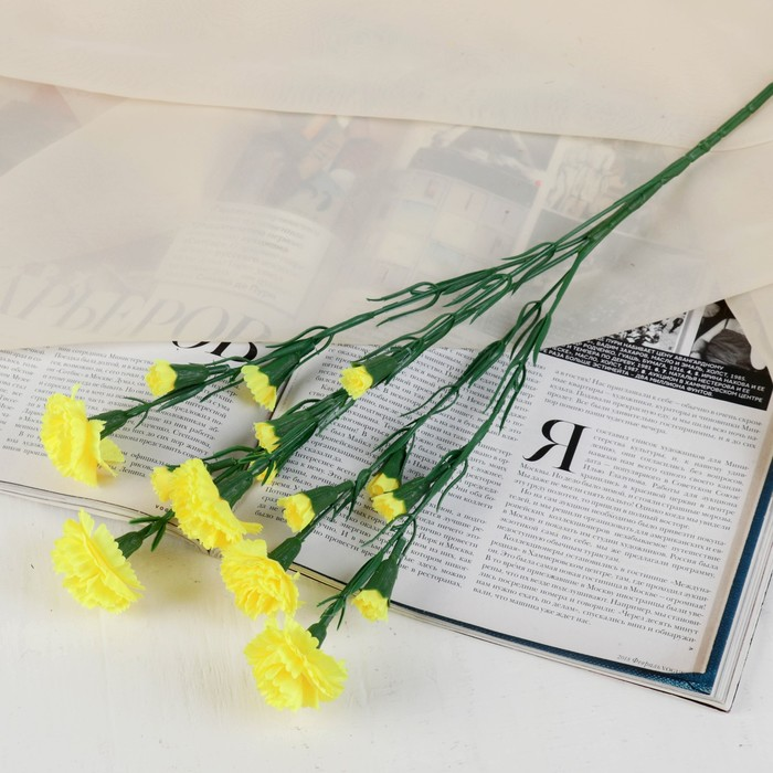 """Цветы искусственные """"Жёлтая кустовая гвоздика"""""""