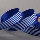 """Лента репсовая """"Полоски"""", 25мм, 22±1м, цвет синий"""