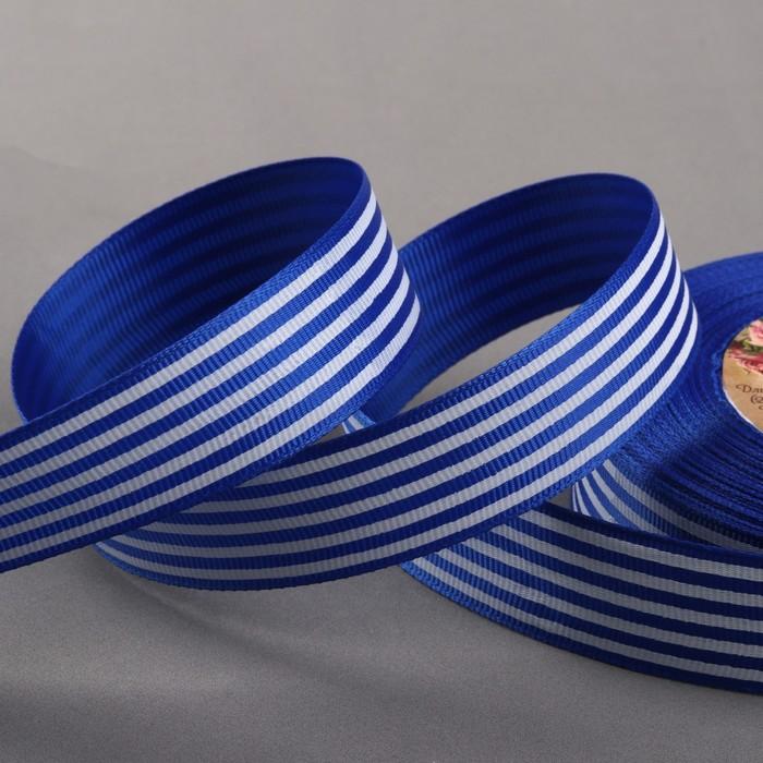 Лента репсовая «Полоски», 25 мм, 22 ± 1 м, цвет синий №040