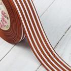 Лента репсовая «Полоски», 25 мм, 22 ± 1 м, цвет коричневый