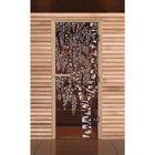 """Дверь для бани и сауны """"Берёзка"""", бронза, 8мм, УФ-печать, 200х80см"""