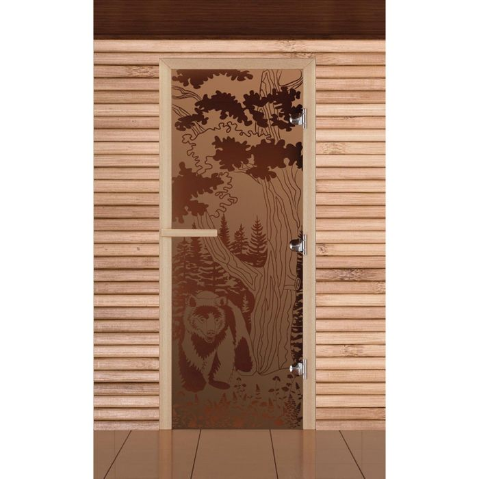 """Дверь для бани и сауны """"Мишка в лесу"""", бронза, матовая, 8мм, УФ-печать, 190х70см"""