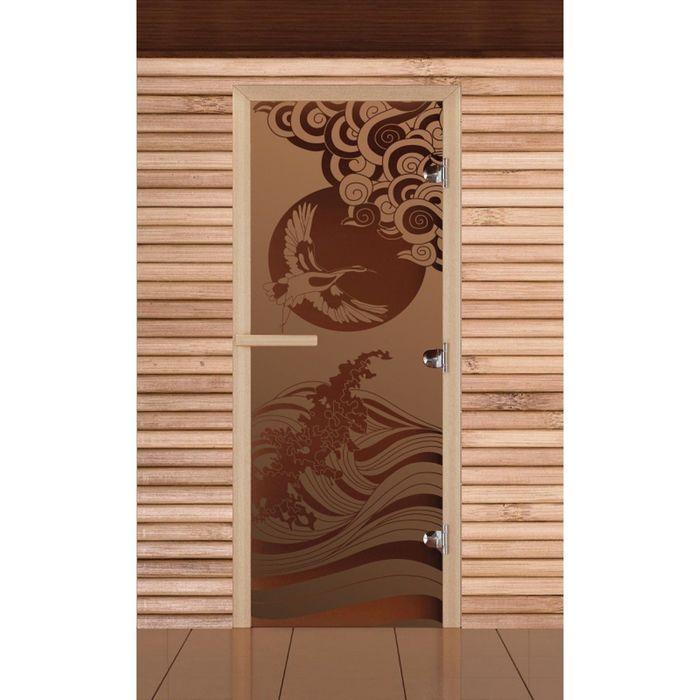 """Дверь для бани и сауны """"Журавль"""", бронза, матовая, 8мм, УФ-печать, 190х70см"""