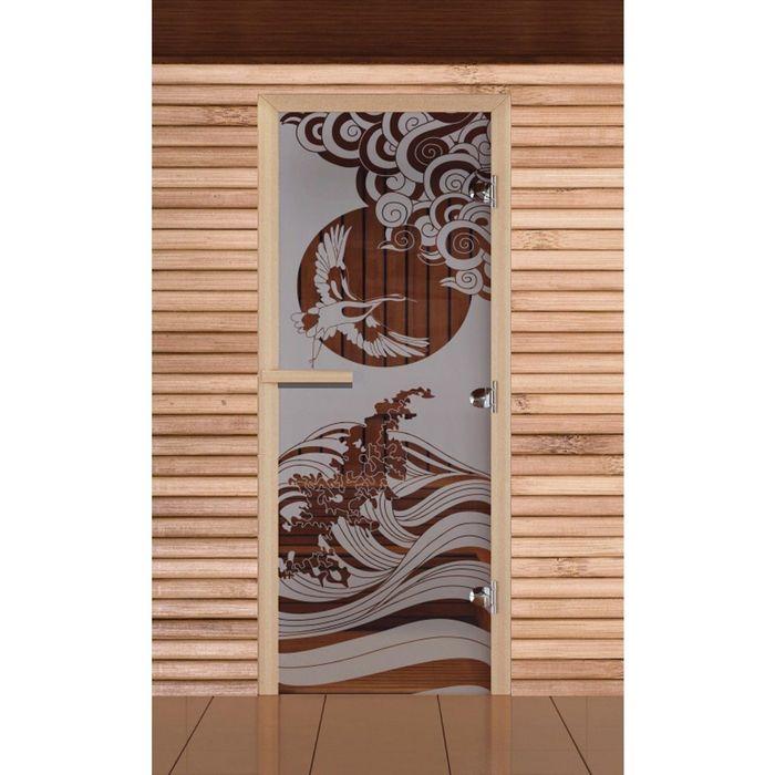 """Дверь для бани и сауны """"Журавль"""", сатин, 8мм, УФ-печать, 190х70см"""