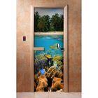 стеклянные двери с фото-печатью для бани