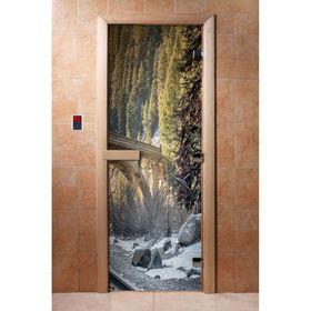 Дверь с фотопечатью, стекло 8 мм, размер коробки 190 × 70 см, левая, цвет А096