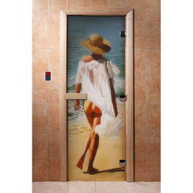 Дверь с фотопечатью, стекло 8 мм, размер коробки 190 × 70 см, левая, цвет А013