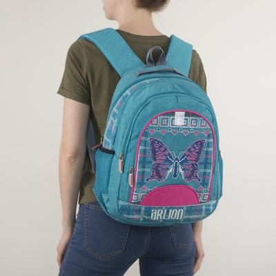 Рюкзак на молнии, 2 отдела, 3 наружных кармана, цвет бирюзовый