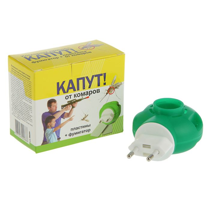 """Комплект """"Капут"""" от комаров: фумигатор + пластины, 10 шт"""