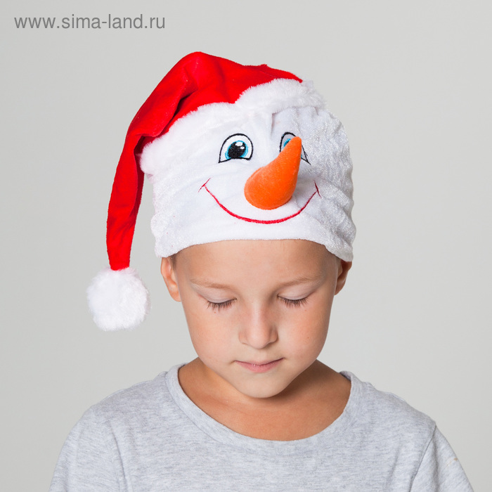 """Hat """"Snowman"""" in a red cap, head circumference 53-55 cm"""