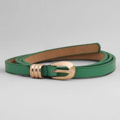 Ремень женский, хомут и пряжка золото, ширина - 1 см, цвет зелёный