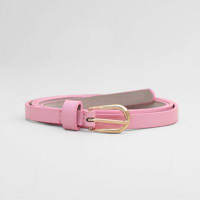 Ремень женский, гладкий лак, пряжка золото, ширина - 1 см, цвет розовый