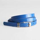 Ремень женский, гладкий лак, хомут и пряжка золото, ширина - 1,5 см, цвет синий