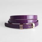 Ремень женский, гладкий лак, хомут и пряжка золото, ширина - 1,5 см, цвет фиолетовый