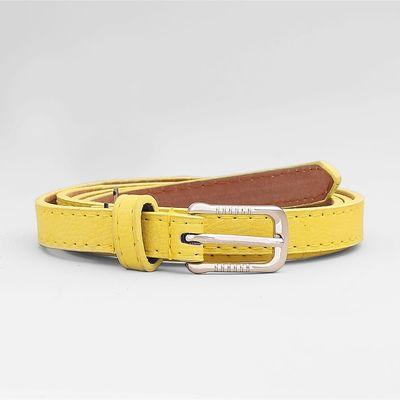 Ремень женский, гладкий матовый, 2 хомута, пряжка метал, ширина - 1 см, цвет жёлтый