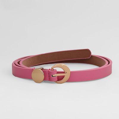 Belt female, smooth, matte, gold buckle, width 1,5 cm, colour pink
