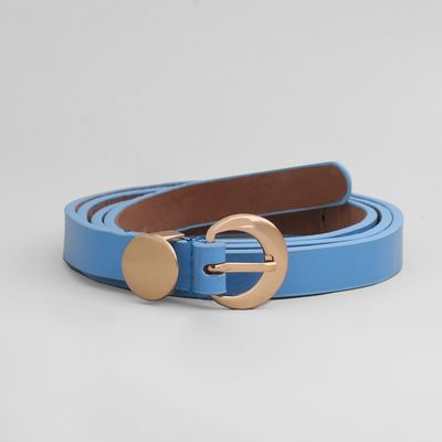 Belt female, smooth, matte, gold buckle, width 1,5 cm, colour blue