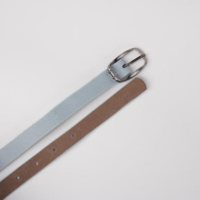 Ремень женский, гладкий матовый, пряжка метал, ширина - 1,8 см, цвет голубой