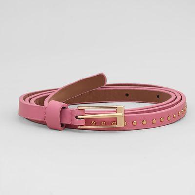 Belt female, smooth, matte, gold buckle, width - 1 cm, color pink