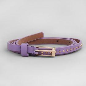 Ремень женский, гладкий матовый, пряжка золото, ширина - 1 см, цвет фиолетовый Ош