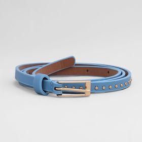 Belt female, smooth, matte, gold buckle, width - 1 cm, color blue