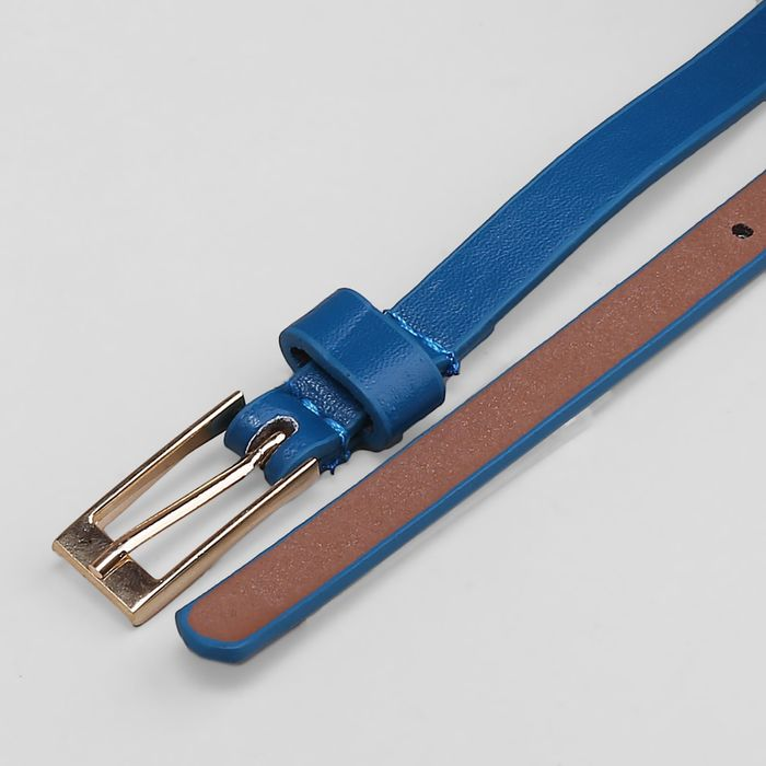 Ремень женский, гладкий матовый, пряжка золото, ширина - 1 см, цвет синий