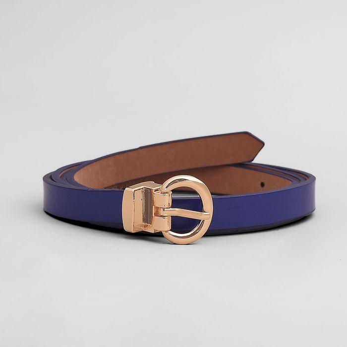 Ремень, гладкий, пряжка золото, ширина - 1 см, цвет синий