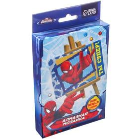 """Алмазная вышивка (мозаика) А6 """"Ты супер!"""", Человек-паук, ёмкость, стержень, клеевая подушечка"""