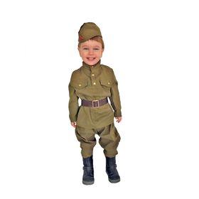 Карнавальный костюм «Солдат-малютка», пилотка, гимнастёрка, ремень, галифе, 1-2 года, рост 82-92 см в наличии