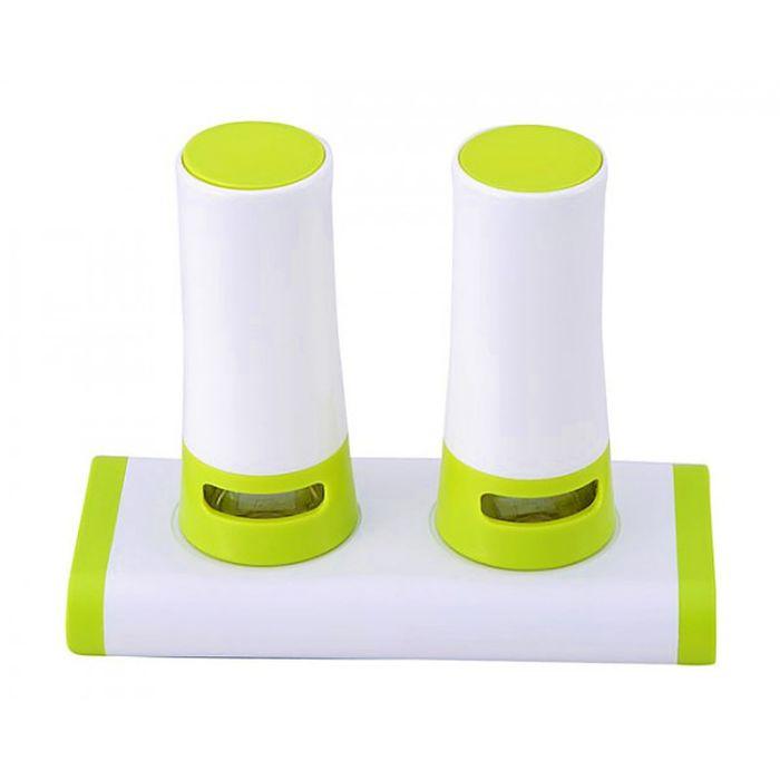 Набор для соли и перца 2 предмета пластик, 17х7,5х14 см, подставка, бело-салатовая