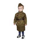 Карнавальный костюм «Солдаточка-малютка», пилотка, гимнастёрка, ремень, юбка, 2-3 года, рост 94-104 см - фото 105522253