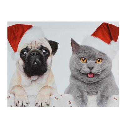 """Картина на подрамнике """"Мопс и кот в колпаках"""""""