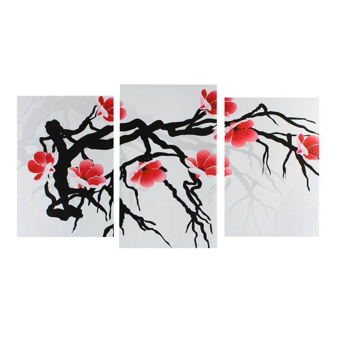 """Модульная картина на подрамнике """"Японская сакура"""", 2 шт. — 30×44, 5 1 шт. — 30×51,5 см, 55×100 см"""