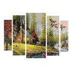 """Картина модульная на подрамнике """"Домик в лесу"""" 2-14х53, 2-21х69,5 1-34х79; 80х118 см - фото 1708156"""