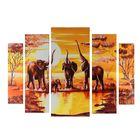 "Картина модульная на подрамнике ""Слоны на водопое"" 2-14х53, 2-21х69,5 1-34х79; 80х118см - фото 939718"