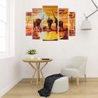 "Картина модульная на подрамнике ""Слоны на водопое"" 2-14х53, 2-21х69,5 1-34х79; 80х118см - фото 939719"