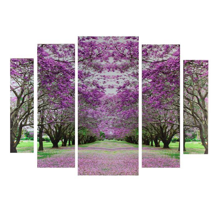 """Модульная картина на подрамнике """"Сакуровый сад"""", 2 — 14×53, 2 — 21×69,5, 1 — 34×79, 80×118 см"""