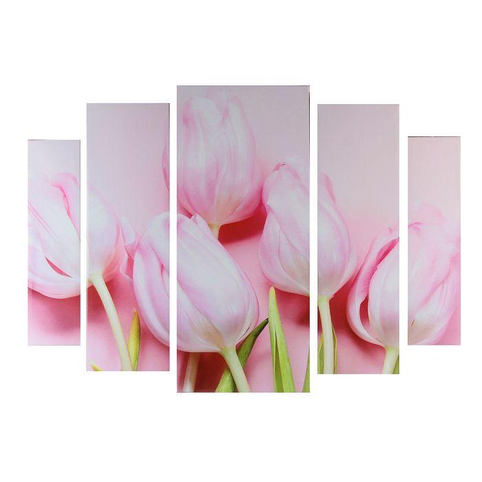 """Картина модульная на подрамнике """"Розовое наслаждение""""  80х118 см - фото 898554"""