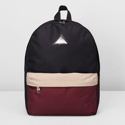 Рюкзак молодёжный на молнии, 1 отдел, наружный карман, цвет бежевый/бордовый