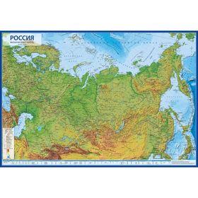 Интерактивная карта России физическая, 101 x 70 см, 1:8.5 млн, ламинированная