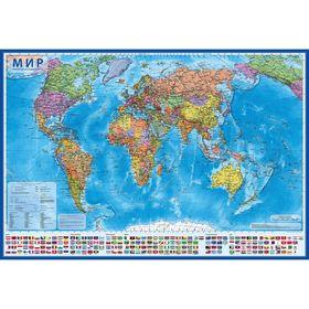 Интерактивная карта мира политическая, 117 х 80 см, 1:28 млн, ламинированная