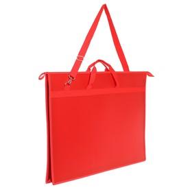 Папка А2, с ручками, пластиковая, молния сверху, 650 х 480 х 50 мм, «Оникс», ПР 6, плечевой ремень, цвет красный