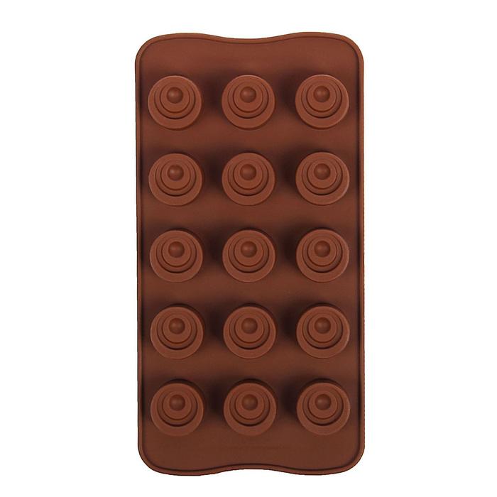 """Форма для льда и шоколада 21,2х10,5 см """"Комильфо"""", 15 ячеек, цвет МИКС"""