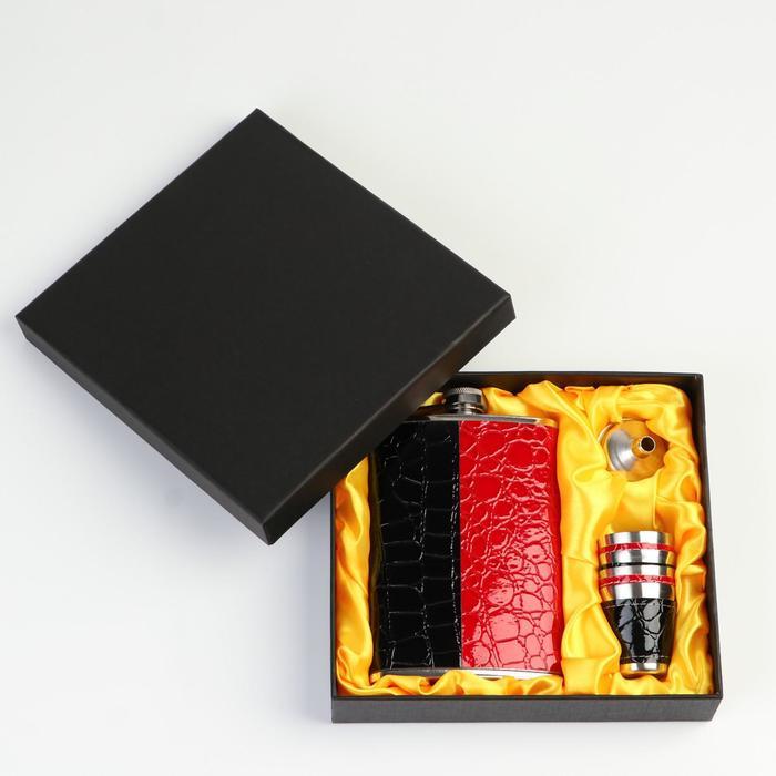 """Подарочный набор """"Дубль"""" 6 в 1: фляжка 270 мл, воронка, 4 рюмки, 17х17 см"""