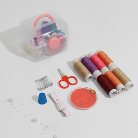 Sewing kit in plastic box, color MIX