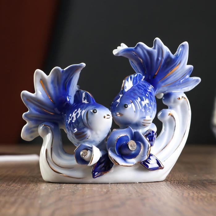 """Сувенир керамика """"Две рыбки с розой"""" страза 11х14х7,5 см"""